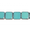 Fire polished 6X6mm Square Turquoise Opaque Lamp/window Beads